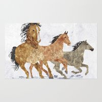 horses Area & Throw Rugs featuring Horses by Stag Prints