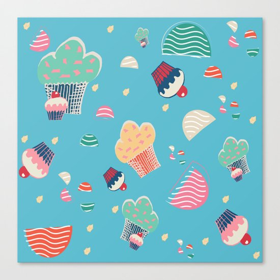 Cupcake blue Canvas Print