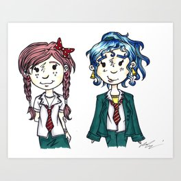 Two Little School Girls Art Print