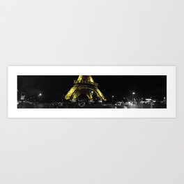 Paris Eiffel tower by night panorama black and white with color GOLD Art Print
