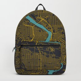 Portland, OR City Map, Yellow/Navy Backpack