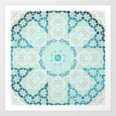 Where's My Indian Flower? (Blue and Gold) Art Print