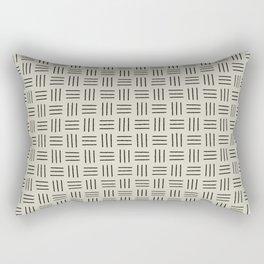 Basket Weave Mudcloth, Black on Linen Rectangular Pillow