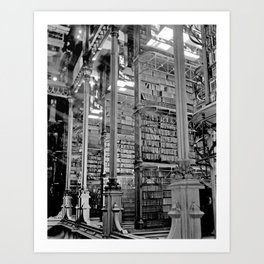 A Book Lover's Dream - Cincinnati Public Library black and white photographs / black and white photo Art Print