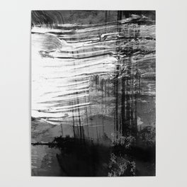Spectral // black and white abstract ink painting Poster