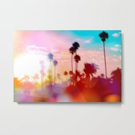 palm tree with sunset sky and light bokeh abstract background Metal Print