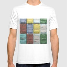 Old wooden colorful Apiary White MEDIUM Mens Fitted Tee