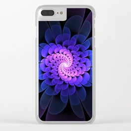 Spiraling Flower Fractal in Blue and Purple Clear iPhone Case