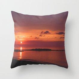 Red Orange Sunset Throw Pillow