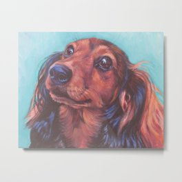 The long haired Dachshund from an original painting by L.A.Shepard Metal Print