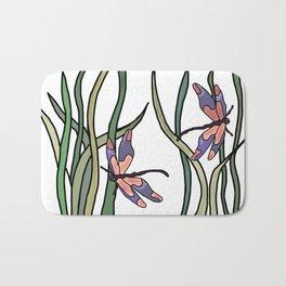 pink dragonfly in the grass . art Bath Mat