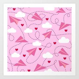 Pink Valentine's paper planes Art Print