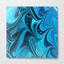 Blue marble, pour colors painting Metal Print