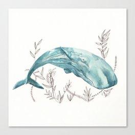 Sperm Whale Watercolor Canvas Print
