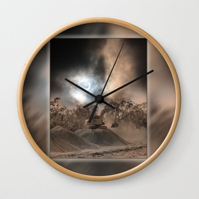 Heavy Duty Earthworks During An Eclipse Wall Clock