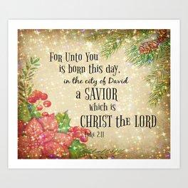 Christmas Bible Verse Typography Art Print