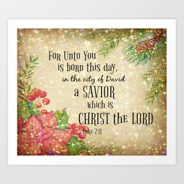 Christmas Bible Verse Typography Art Print
