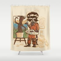 starlord Shower Curtains featuring Happy Little Groots by Taylor Rose