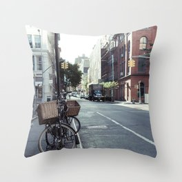 Bikes in Soho Throw Pillow