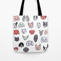 puppies Tote Bags featuring Pastel Puppies by Elisa MacDougall
