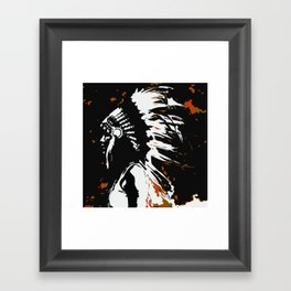 "Native American Indian ""Fearless in Flames"" Framed Art Print"