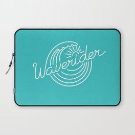 Waverider - white on teal Laptop Sleeve