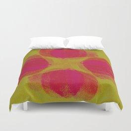 green lemon and pink flowers pattern Duvet Cover