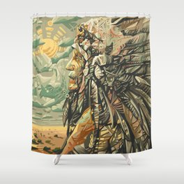 native american portrait Shower Curtain
