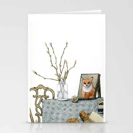 coffee and croissants Stationery Cards