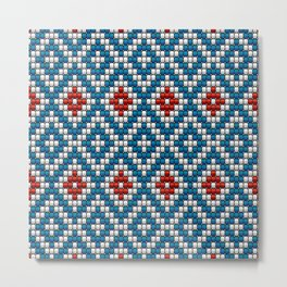 Blue & red ethnic textured motif Metal Print