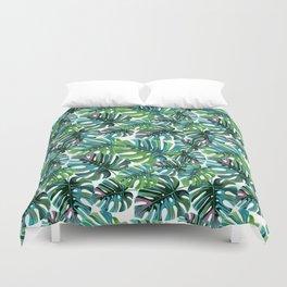 Elephant Tropical Leaves Pattern Duvet Cover