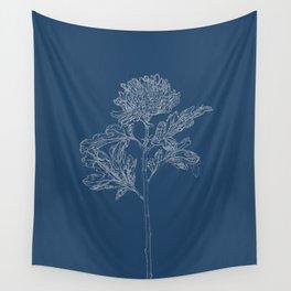 Chrysanthemum Blueprint Wall Tapestry