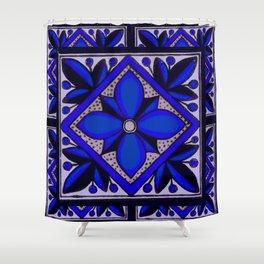 talavera mexican tile in blu Shower Curtain
