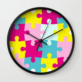 puzzle pieces jigsaw Wall Clock