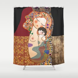 Kokeshi Mother&child Shower Curtain