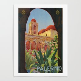 vintage 1920s Palermo Sicily Italian travel ad Poster