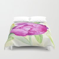peony Duvet Covers featuring Peony by my first palette