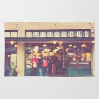 starbucks Area & Throw Rugs featuring A Star is Born. Seattle Starbucks photograph by Myan Soffia