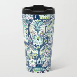Indigo CARPE DIEM SKULLS Watercolor Travel Mug