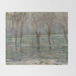 Flood Waters by Claude Monet Throw Blanket