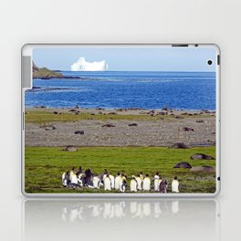 King Penguins on the beach with an Iceberg behind Laptop & iPad Skin