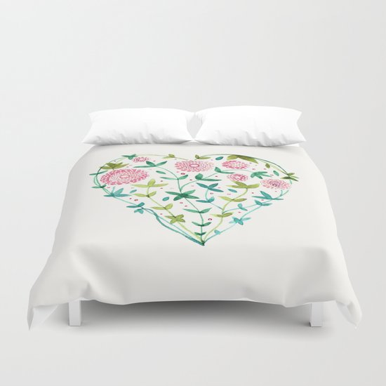garden heart Duvet Cover