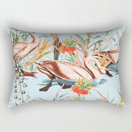 Swan floating in lake Rectangular Pillow
