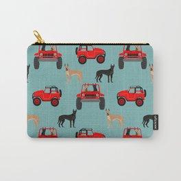 Great Dane jeep car dog breed pattern custom pet portrait Carry-All Pouch