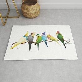 Winter Parakeets & Cockatiels Rug