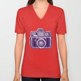 I Still Shoot Film Holga Logo - Deep Purple Unisex V-Neck