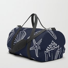 Navy Blue And White Seashell pattern Duffle Bag