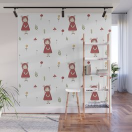 Little Red Riding Hood Girl with Antlers Wall Mural