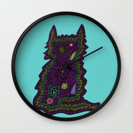 Black Cat With Roses Wall Clock