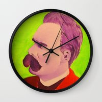 nietzsche Wall Clocks featuring Colorful Nietzsche by TheMessianicManic